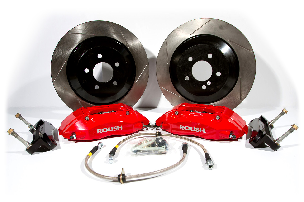 Brakes 2005 - 2014 Mustang Red 4 Piston Brake Kit w/ 1 pc Rotors Accessories