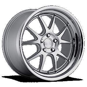 Concept One Wheels 1007 5 Matte Silver w/ Chrome Lip