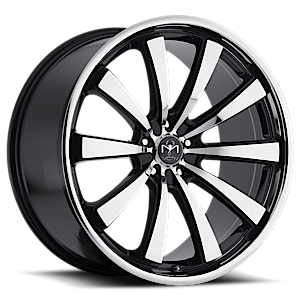 Motiv Luxury Wheels 407 Majestic 5 Mirror Machined Face with Gloss Black Accents