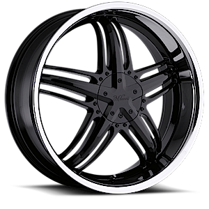 Milanni Wheels 457 Force 5 Gloss Black with Stainless Steel Lip