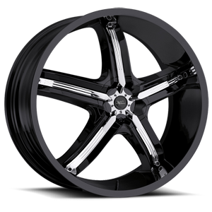 Milanni Wheels 459 Bel Air 5 5 Gloss Black with Chrome Inserts