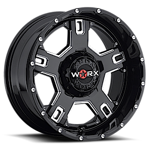 WORX Wheels 802 Havoc 6 Gloss Black with Milled Accents