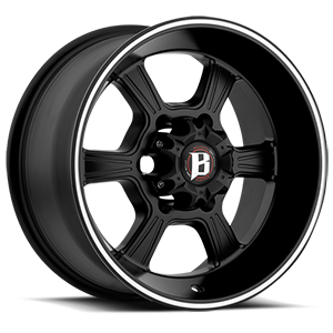845 Flat Black Machined Stripe 6 lug