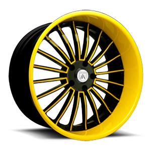 Asanti Forged Wheels AF122 5 Black and Yellow