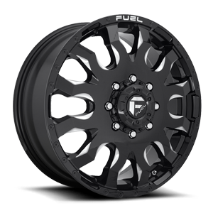 Blitz Dually Front - D673 Gloss Black & Milled 8 lug