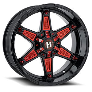 827 Warrior Gloss Black w/ Red Accessories 6 lug