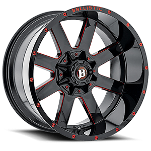 Ballistic Off Road 959 Rage 6 Gloss Black with Red Milling