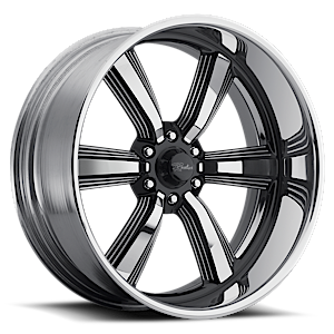 Raceline Wheels Blast 6 6 Silver and Black with Chrome Lip