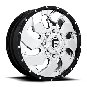 Fuel Dually Wheels Cleaver Dually Front D240 8 Chrome w/ Black Lip
