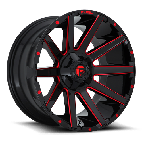 Fuel 1-Piece Wheels Contra - D643 6 Gloss Black w/ Candy Red