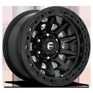 Fuel 1-Piece Wheels Covert Beadlock - D114 6 Matte Black w/ Matte Black Ring