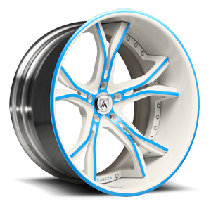 Asanti Forged Wheels C/X Series CX176 5 White with Blue Inserts