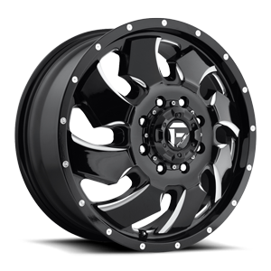 Fuel Dually Wheels Cleaver Dually Front - D574 8 Black & Milled