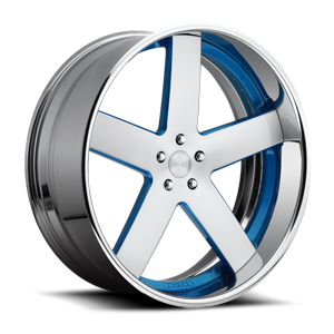 DUB Forged Baller - X84 5 Brushed face w/ blue windows. chrone lip