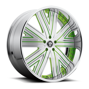 DUB Forged Draft - X88 5 Brushed face w/ green accents, chrome lip