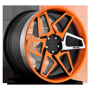 DUB Forged Game On - X80 5 Matte Black & Orange w/ Machined Spoke