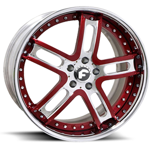 Forgiato ESTREMO 5 Red/Satin Center, Chrome Lip