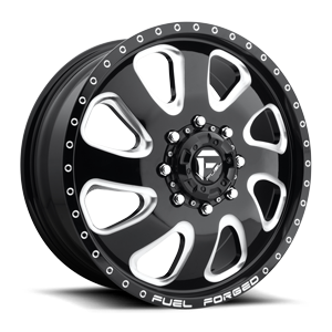 Fuel Dually Wheels FF12D - Front 8 Gloss Black & Milled