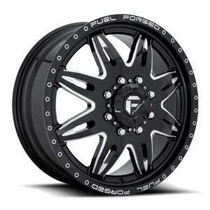 Fuel Dually Wheels FF26D - Front 8 Gloss Black & Milled
