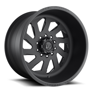 Fuel Dually Wheels FF39D -10 Lug Super Single Front 10 Matte Black w/ Gloss Black Windows