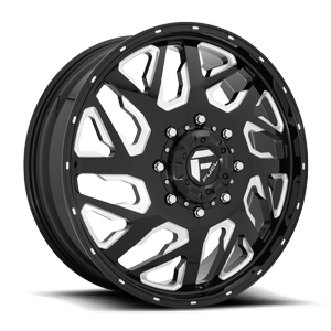 Fuel Dually Wheels FF51D - Front 8 Gloss Black & Milled