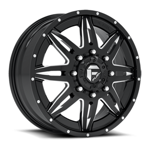 Fuel Dually Wheels Lethal Dually Front - D267 8 Gloss Black & Milled