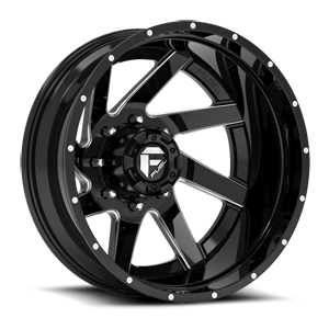 Fuel Dually Wheels Renegade Dually Rear - D265 8 Black & milled center, gloss black outer