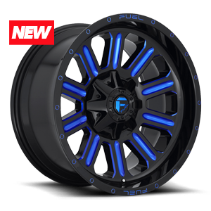 Hardline - D646 Gloss Black w/ Candy Blue 6 lug