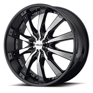 Helo Wheels HE875 5 Gloss Black w/ Chrome Accents
