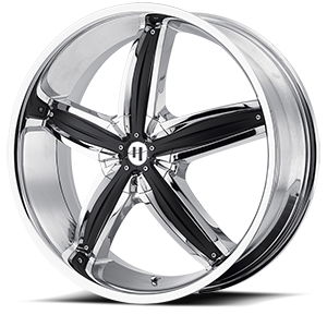 Helo Wheels HE844 5 Chrome w/ Gloss Black Accents