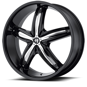 Helo Wheels HE844 5 Gloss Black w/ Chrome Accents