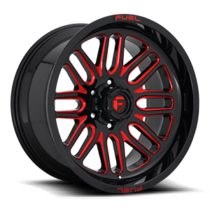 Ignite - D663 Gloss Black w/ Candy Red 6 lug