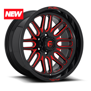 Ignite - D663 Gloss Black w/ Candy Red 5 lug