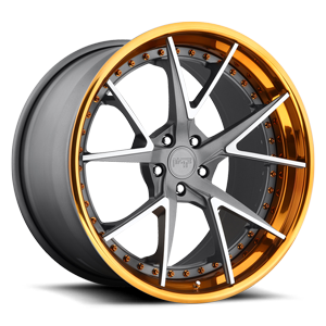 Niche Forged Ibiza 5 Textured Gun Metal | Brushed Elevated Spokes | Trans Copper