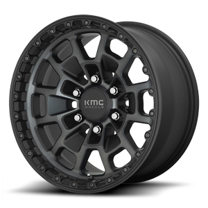 KM718-Summit Satin Black Machined w/ Gray Tint 6 lug