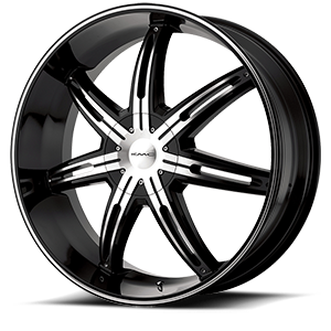 KMC Wheels KM665 Surge 5 Gloss Black w/Machine