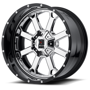 XD Series by KMC XD202 Buck 25 8 Chrome Center w/ Gloss Black Milled Lip