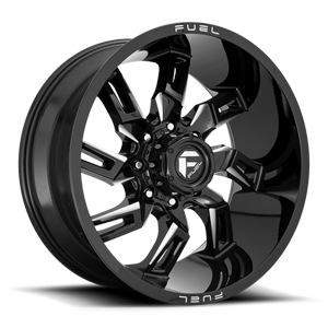 Fuel 1-Piece Wheels Lockdown - D747 8 Gloss Black & Milled