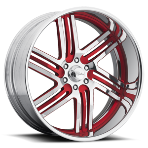 Raceline Wheels Majestic 6 Chrome with Red Inserts