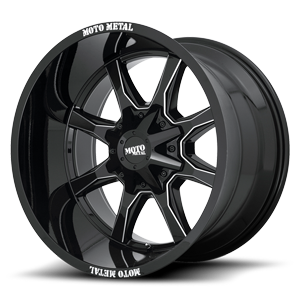Moto Metal MO970 5 Gloss Black w/ Milled Spoke-Milled MM Lip