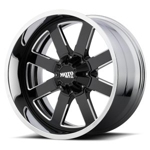 Moto Metal MO200 8 Gloss Black Milled Center w/ Chrome Lip
