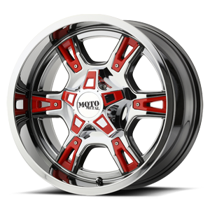 Moto Metal MO969 5 Chrome w/ Red Accents