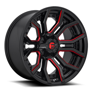 Rage - D712 Gloss Black w/ Candy Red 6 lug