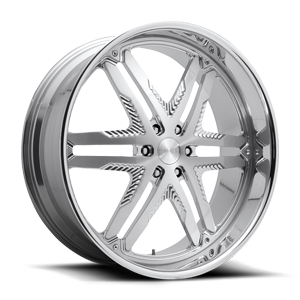 Rake 6 - X124 Brushed w/ Polished Lip 6 lug