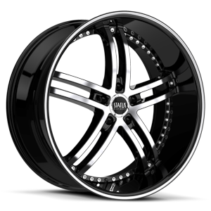 Status Wheels S816 Knight 5 5 Gloss Black w/ Machined Face and Pin Stripe