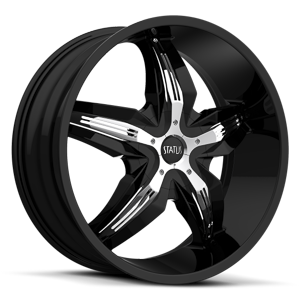 Status Wheels S822 Dynasty 5 Gloss Black w/ Chrome Inserts