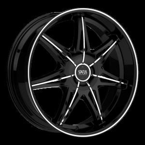 Status Wheels S828 Crown 5 Gloss Black w/ Chrome Inserts