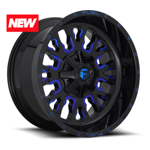 Fuel 1-Piece Wheels Stroke - D645 8 Gloss Black w/ Candy Blue