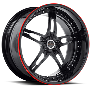 Savini Forged SV10 5 Black with Red Pinstripe
