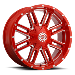 SC-18 Neon Red Milled 6 lug